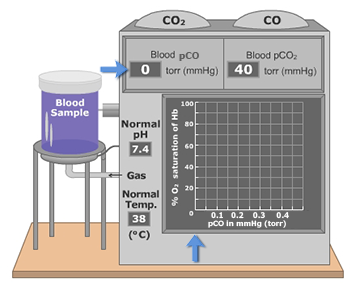 An animation demonstrating carbon monoxide association with hemoglobin is directly related to the plasma partial pressure of CO