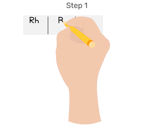 Animation showing a glass slide being divided into three sections and labelled for each blood type: Rh, A, and B.