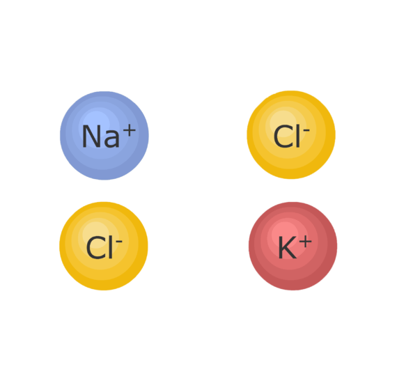 An image showing Na, Cl and K ions, the hydration layer around them is being removed forming molecules due to ionic bonding
