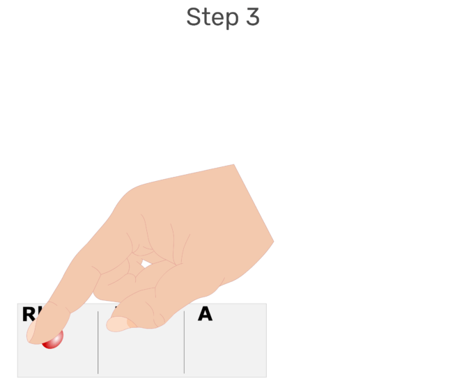 Animation of large drops of blood being placed in each of the three labelled sections of the glass slide.