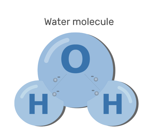 An image showing sharing electron process between water and oxygen forming covalent bond