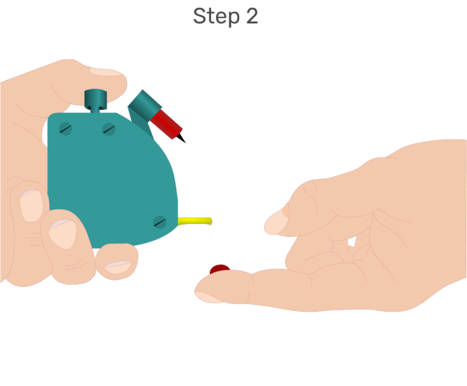 Animation of finger being lanced and blood drop accumulating.