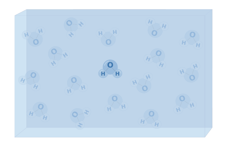 An image showing water molecules, one is highlighted