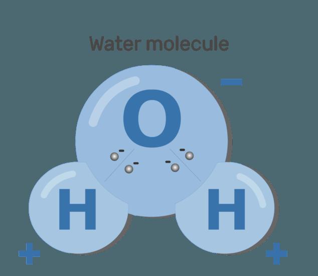 An image showing polarizing water molecules process